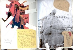 An extract from Jay's journal, with pasted images and a post it note.
