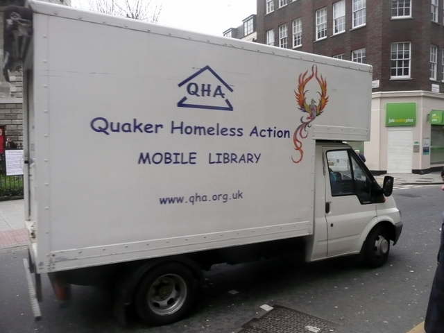 The Ford Transit mobile library van belonging to Quaker Homeless Action