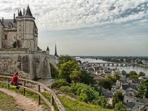 A view from a hill of Saumur in France, with the castle on the left and the river in the distance.