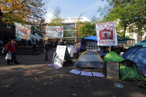 Tents and banners at Occupy Norwich