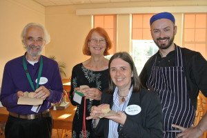 2. From l-r: Quaker volunteers Les and Marion Derbyshire, Woodbrooke's Director Sandra Berry and Head Chef, Eddie Hislop