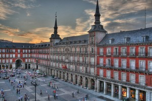 One side of the Plaza Major square in Madrid.