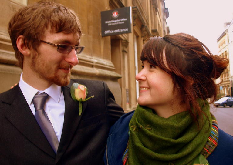 Ian Goggin and Kristin Skarsholt share a moment on the day that they tried to register a civil partnership