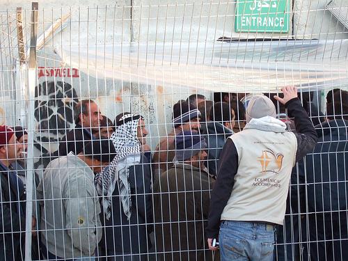 An Ecumenical Accompanier talks with Palestinians