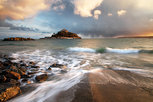 A sea tide in Cornwall at sunset