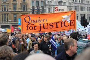 Quakers on the march under the Quakers for Justice banner