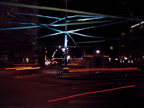 A street scene in Geneva where an artist has made a physical light experiment