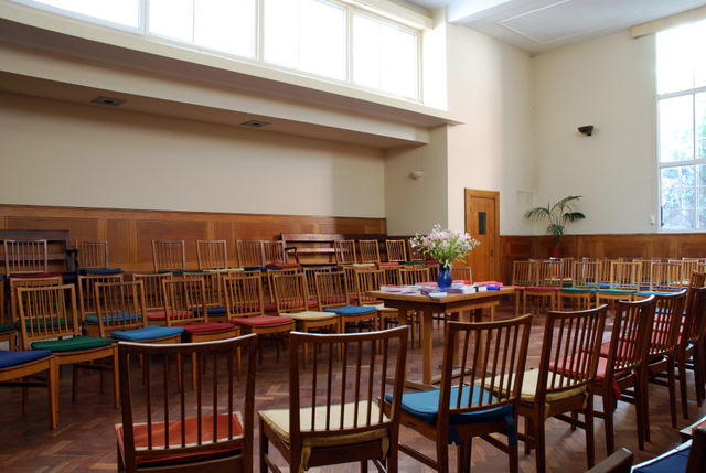 The inside of the meeting room at Westminster Friends Meeting House