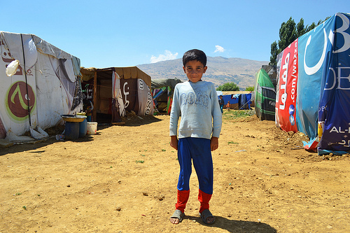A child in a refugee camp in Lebanon, near the Syrian border. Photo: CAFOD/CC