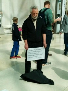 A Quaker stands in silence at the British Museum.