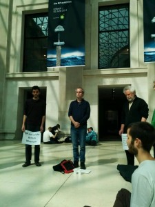 Quakers worshipping at the British Museum while highlighting the museum's connections to BP